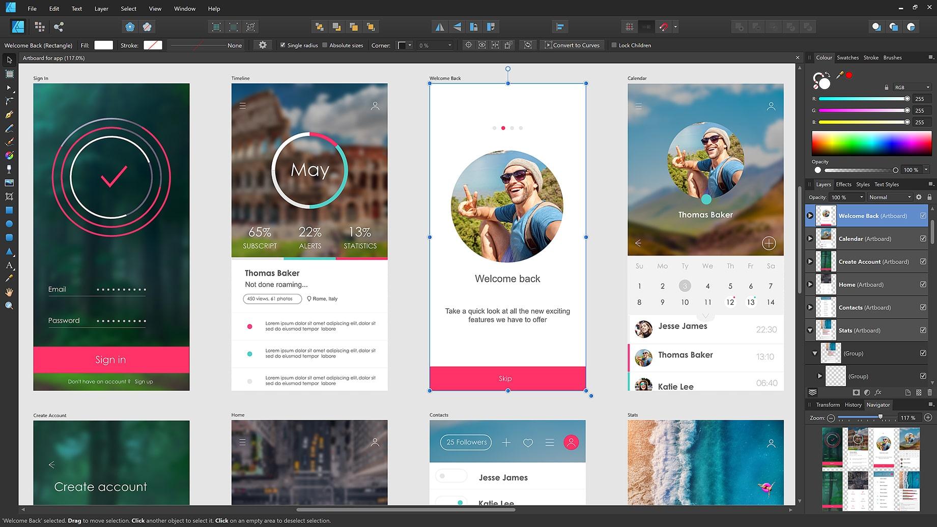 Affinity Designer praca w programie