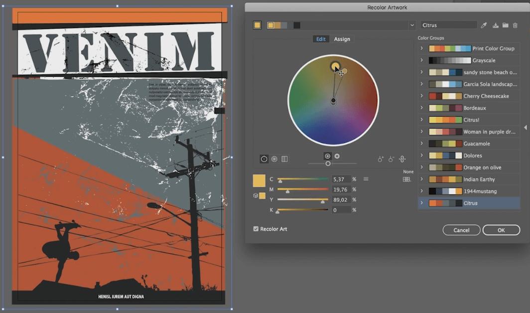 modyfikacja kolorów w adobe illustrator