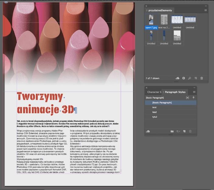 oblewanie obrazem tekstu adobe indesign