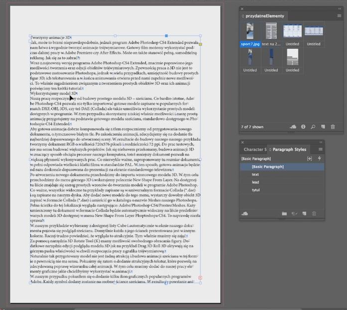tworzenie dokumentu adobe indesign