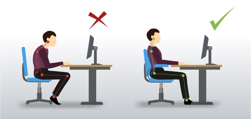 Prawidłowa postawa podczas pracy przy monitorze